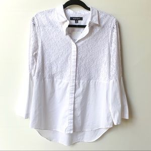 Beautiful White lace embossed button down top